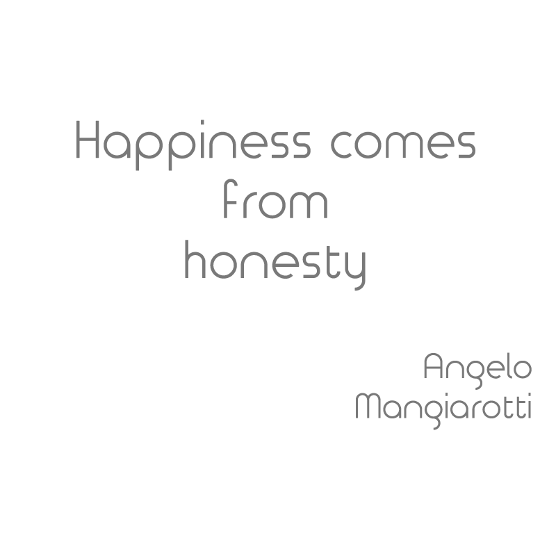 Happyness comes from honesty